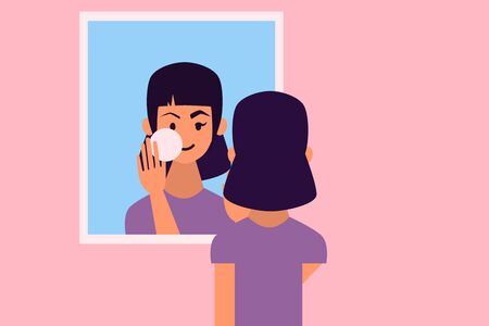Young woman in front of a mirror cleanses the skin from makeup. Flat design. Vector illustration