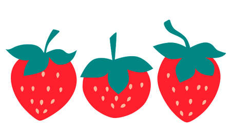 Set red strawberries isolated on white background. Flat design. Vector illustration