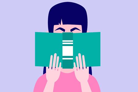 Young woman is reading a book. Flat design. Vector illustration