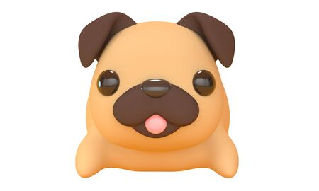 Cute pug toy with a pink tongue on a white background. Cartoon character. 3d rendering 版權商用圖片