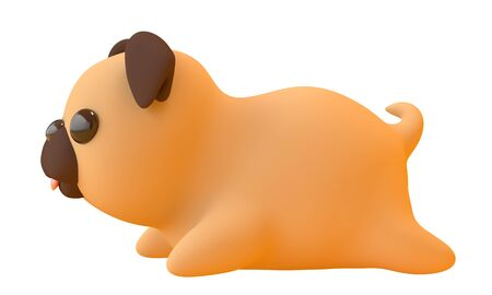 Cute pug toy with a pink tongue on a white background. Side view. 3d rendering