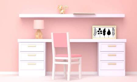 Home workplace interior with white furniture and a pink wall. Front view. 3d rendering