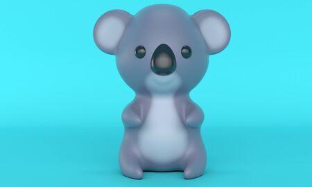 Cute koala toy on a blue background. Cartoon character. 3d rendering