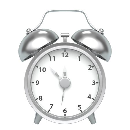 Classic vintage metal alarm clock on a white background. Front view. 3d rendering