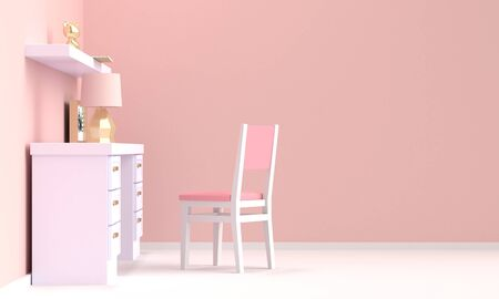 Interior of a home workplace with white furniture and a pink wall. Side view. 3d rendering 版權商用圖片