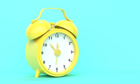 Classic vintage shiny yellow alarm clock on a turquoise background with place for text. 3d rendering 版權商用圖片