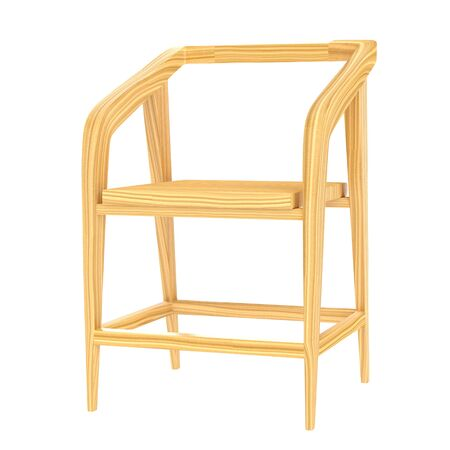 Modern bright wooden chair on a white background. 3d rendering