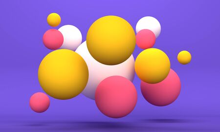 Cheerful abstract background with flying colored spheres on a lilac background. Minimalistic backdrop design for product promotion. 3d rendering 版權商用圖片