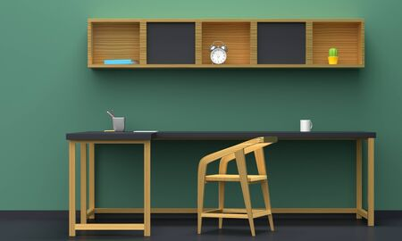 Home workplace interior with wooden furniture and green wall. Front view. 3d rendering