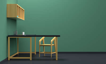 Home workplace interior with wooden furniture and green wall. Side view. 3d rendering 版權商用圖片