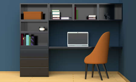 Home workplace interior with black furniture, a blue wall and a laptop. Front view. 3d rendering