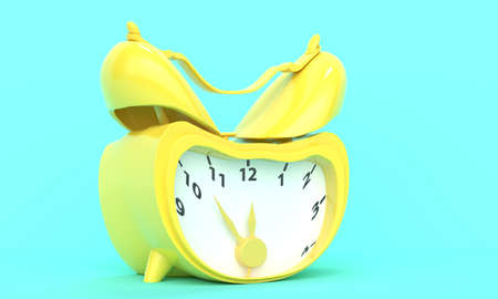 Classic vintage broken yellow alarm clock on a turquoise background. Concept time. 3d rendering