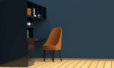 Home workplace interior with black furniture, a blue wall and a laptop. Side view. 3d rendering