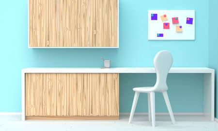 Bright interior of a home workplace with wooden furniture and a blue wall. Front view. 3d rendering 版權商用圖片