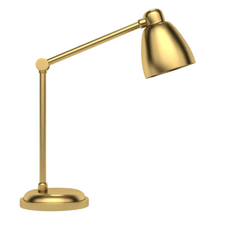 Modern golden table lamp on a white background. Side view. 3d rendering
