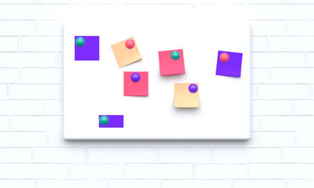 Mock up note board with magnets and colored paper on a white brick wall. Front view. 3d rendering