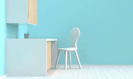Bright interior of a home workplace with wooden furniture and a blue wall. Side view. 3d rendering