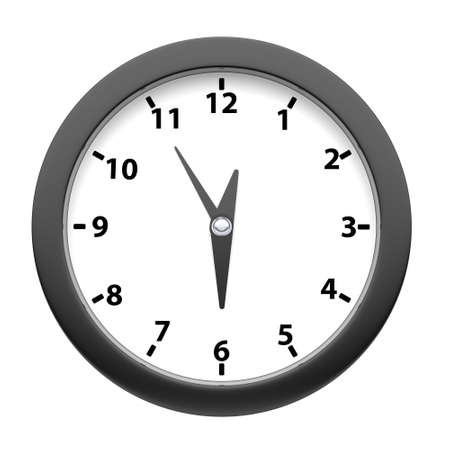Modern round wall black clock on a white background. Front view. 3d rendering