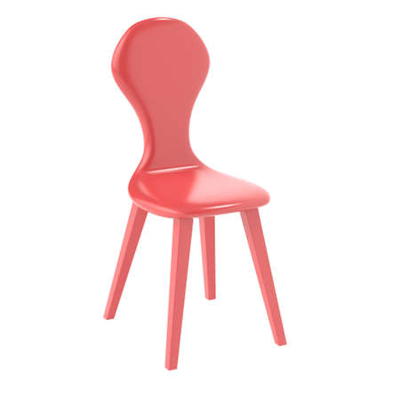 Modern red plastic chair on a white background. 3d rendering