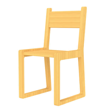 The original bright wooden chair on a white background. 3d rendering