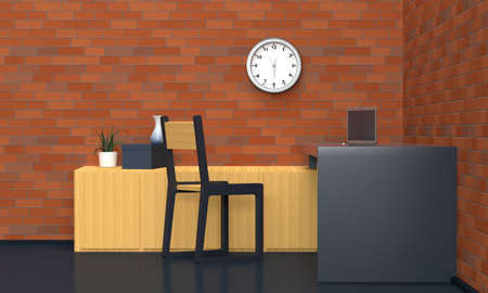 Workplace interior with black table and brick red wall. Front view. 3d rendering 版權商用圖片