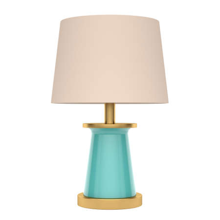 Modern golden with blue table lamp on a white background. Front view. 3d rendering
