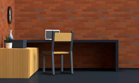 Workplace interior with brick red wall. Side view. 3d rendering