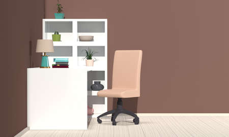 Workplace interior in modern style with white. Side view. 3d rendering