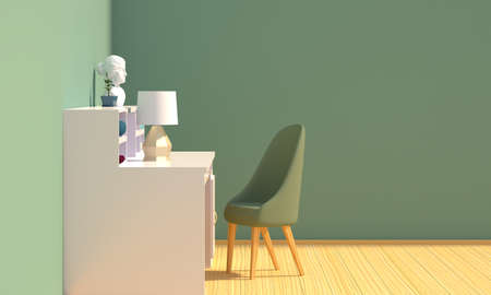 Interior of a home workplace with a mint colored wall. Side view. 3d rendering