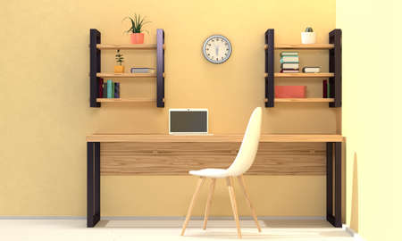 Home workplace interior with wood furniture, shelves and yellow wall. Front view. 3d rendering 版權商用圖片