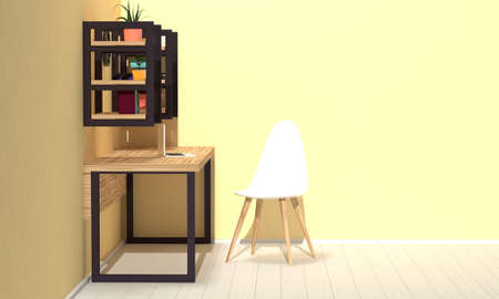 Home workspace interior with wooden furniture and shelves. Side view. 3d rendering