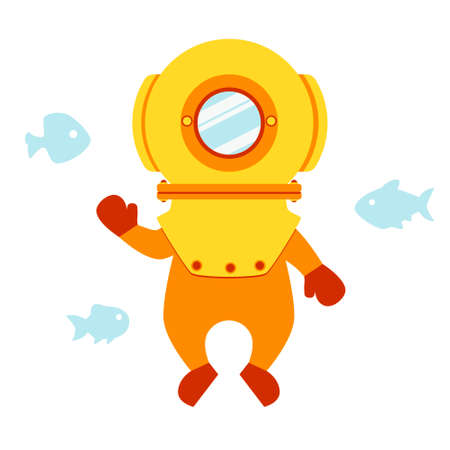 Diver in an old suit with fishes on a white background. Flat design for card or t-shirt. Vector illustration Vectores