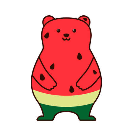 Cute bear watermelon isolated on white background. Flat design for poster or t-shirt. Vector illustration Vettoriali
