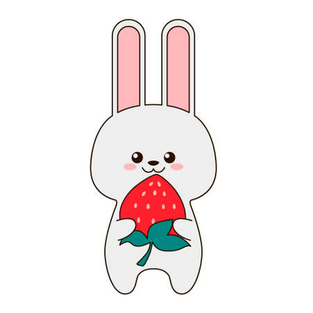 Cute little rabbit hugs strawberries isolated on a white background. Flat design for poster or t-shirt. Vector illustration