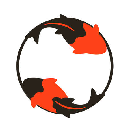 Circle and two koi carp isolated on white background. Flat design for poster or t-shirt. Vector illustration Vettoriali