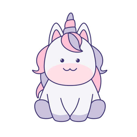 Kawaii unicorn sitting isolated on white background. Flat design for poster or t-shirt. Vector illustration