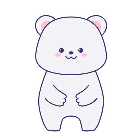 Polar bear isolated on a white background. Flat design for poster or t-shirt. Vector illustration