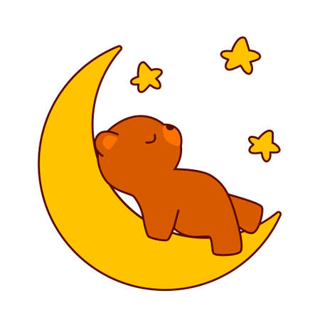 Cute brown bear sleeping on the moon isolated on white background. Flat design for poster or t-shirt. Vector illustration