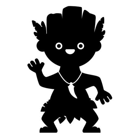 Black silhouette aborigine isolated on white background. Flat design for poster or t-shirt. Vector illustration