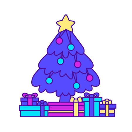 Christmas tree with gifts isolated on white background. Flat design for poster or t-shirt. Vector illustration Vettoriali