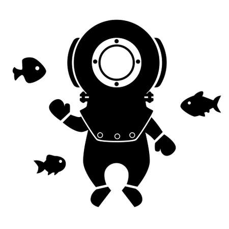 Black silhouette of a diver in an old suit with fishes on a white background. Flat design for poster or t-shirt. Vector illustration Vettoriali