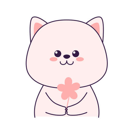 Cute little cat holding flower isolated on a white background. Flat design for poster or t-shirt. Vector illustration Vettoriali
