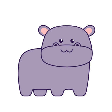 Cute little hippo isolated on white background. Flat design for poster or t-shirt. Vector illustration