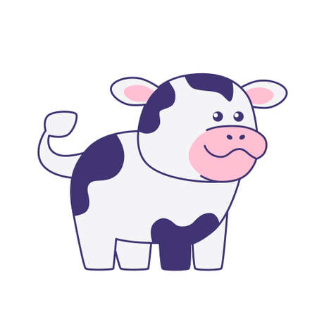 Little cow isolated on a white background. Flat design for poster or t-shirt. Vector illustration Vettoriali