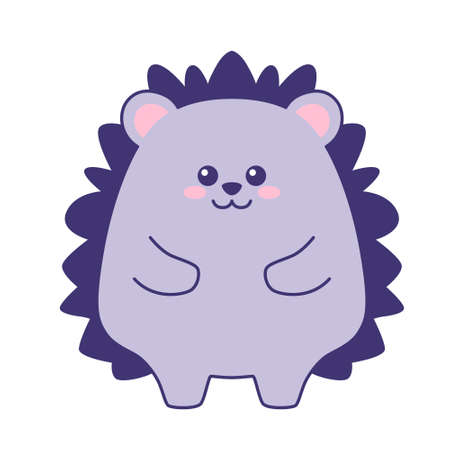 Cute little lilac hedgehog isolated on white background. Flat design for poster or t-shirt. Vector illustration
