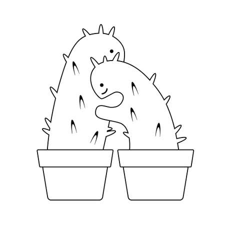Black silhouette cactus hugging on a white background. Flat design for card or t-shirt. Vector illustration