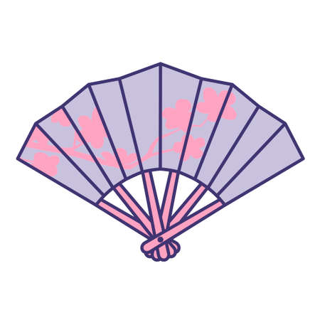 Fan with pink flowers isolated on white background. Flat design for poster or t-shirt. Vector illustration