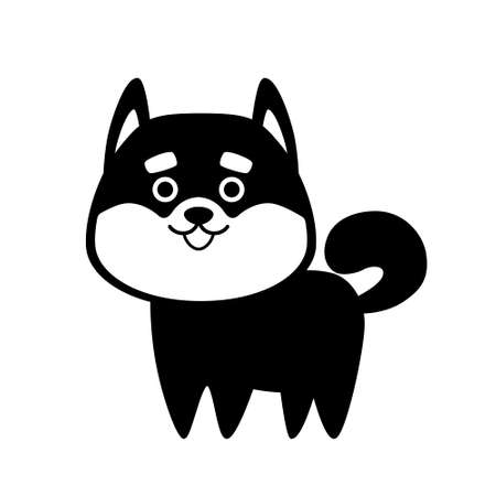 Black silhouette Shiba Inu dog isolated on white background. Flat design for card or t-shirt. Vector illustration