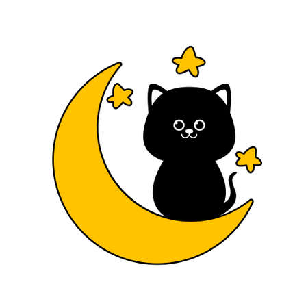 Black cat sitting on the moon isolated on white background. Flat design for poster or t-shirt. Vector illustration