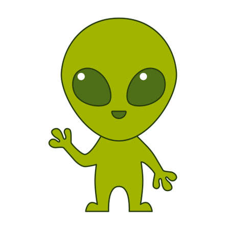Cute green alien isolated on white background. Flat design for poster or t-shirt. Vector illustration Vettoriali